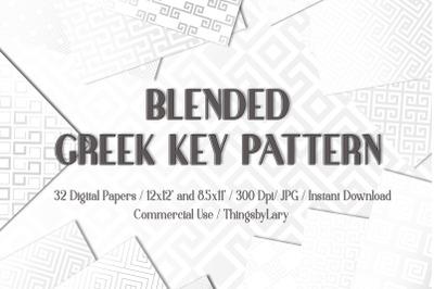 32 Gray Blended Greek Key Pattern Digital Papers