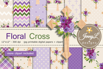 Floral Cross Digital Papers and Clipart