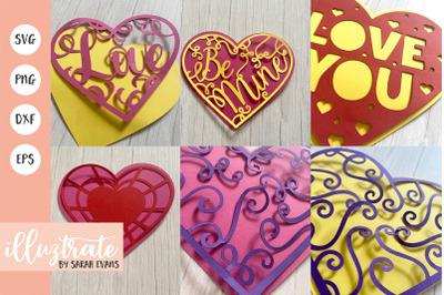 Paper Craft Heart Bundle   Heart SVG   Layered Heart SVG