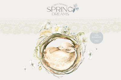 Spring dreams. Watercolor sleeping animals