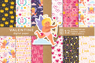 St Valentines Day digital paper prints, seamless patterns.