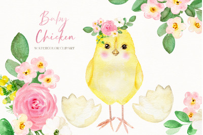 Baby Chicken. Watercolor Clipart for Nursery art, baby shower. Farm