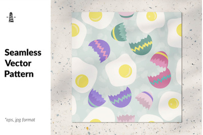 Cracked eggs seamless pattern
