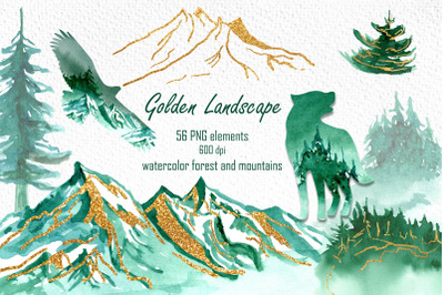 Watercolor landscape clipart, Woodland mountains and forest, Animal si