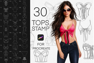Tops and blouse fashion stamp brushes Procreate, Clothes brushes