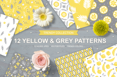 12 Yellow & Grey Seamless Patterns