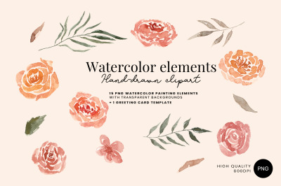 15 Hand-drawn Watercolor Floral Elements with PSD Invitation Template