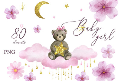 Baby girl shower Clipart teddy bear Baby newborn Watercolor