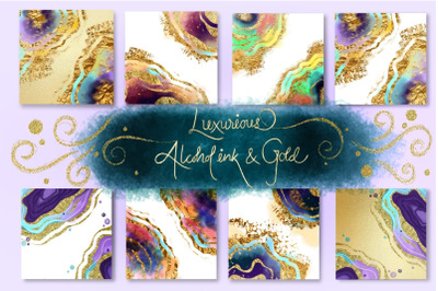 Luxurious Alcohol Ink & Gold