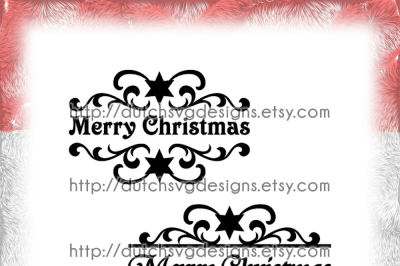 2 Swirly split border cutting files Merry Christmas with stars, in Jpg Png Studio3 SVG EPS DXF, for Cricut & Silhouette, decorative, xmas