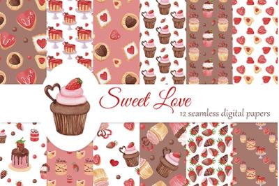 Sweet love digital papers set, Valentines seamless pattern
