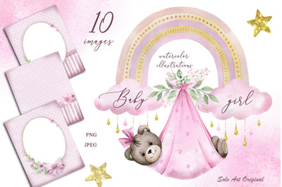 Baby girl shower invitations teddy bear newborn Pre-made card