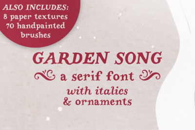 Garden Song serif font and extras