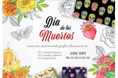 Watercolor Day of the Dead mexican clipart. Da de los Muertos PNG