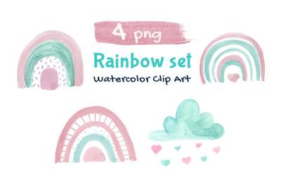 Rainbow Illustration Boho Clip Art