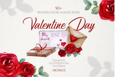 Watercolor Love Valentine Day