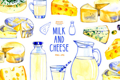 Milk and cheese - watercolor clipart