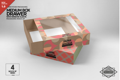 Medium Box Drawer with Window Sleeve Packaging Mockup
