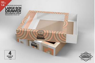 Large Box Drawer with Window Sleeve Packaging Mockup
