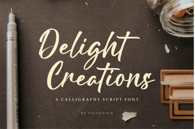 Delight Creations a Calligraphy Script Font