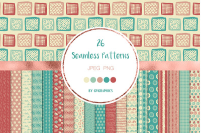 26 Hand Drawn Scribbles Colorful Seamless Patterns