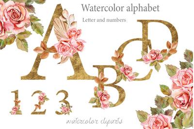 Boho roses and Gold alphabet clipart