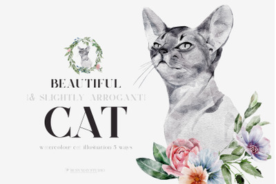 Watercolor Cat Portrait Flowers Wall Posters PNG JPEG