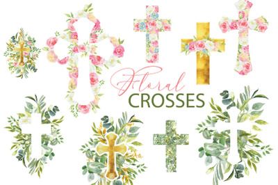 Watercolor floral Easter cross clipart