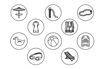 Swimming Pool Outline Icon Bundle