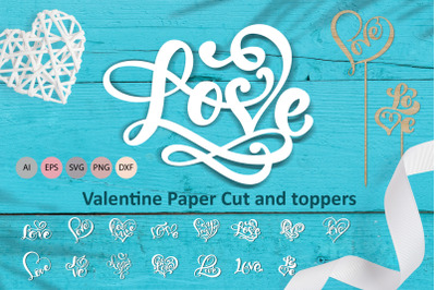 Love Valentine Paper Cut and toppers