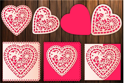 Floral Heart Valentine's Day Card Templates For Paper Cutting