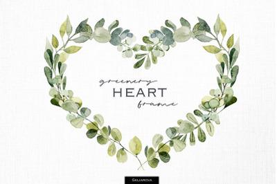 Greenery heart frame