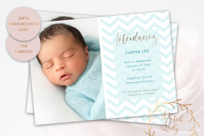 Birth Announcement Card Template #12