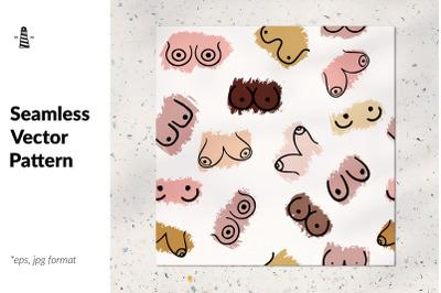 Feminism doodle boobs pattern
