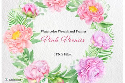 Watercolor floral arrangements with pink peony flowers PNG
