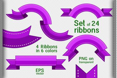 Set of 24 decorative ribbons. Flat style.