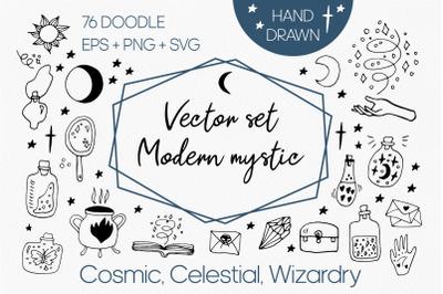 Modern vector mystic set clipart