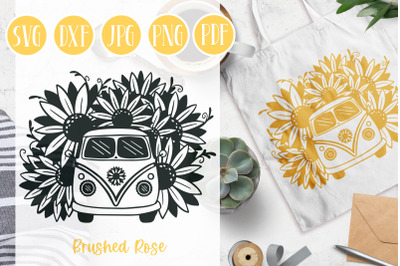 Sunflower SVG   Sunflower bus   Flowers   Vintage Van