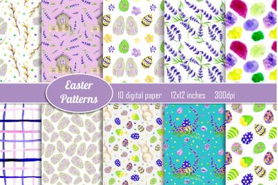Easter digital papers, Scrapbooking seamless pattern, Spring Easter bu