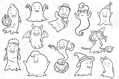 Cute Ghosts Digital Stamps