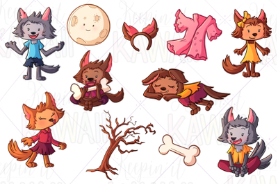 Werewolf Girls Clip Art