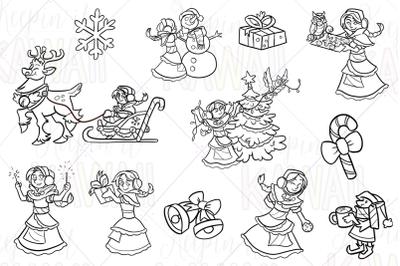 Winter Princess Digital Stamps
