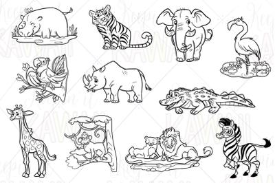 Zoo Animals Digital Stamps