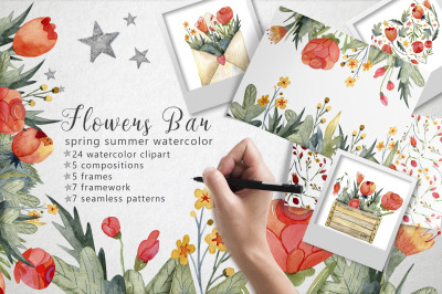 Flowers Bar spring watercolor