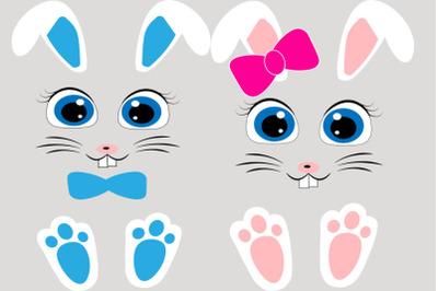 Girl bunny face, boy bunny face, Easter bunny face svg, Rabbit feet sv