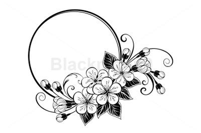 Round frame with contour sakura flowers