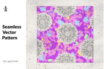 Monochrome flower seamless pattern