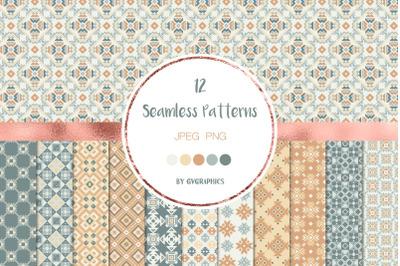 12 Geometrical Ornaments Seamless Patterns