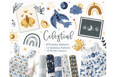 Celestial Animals - clipart & patterns