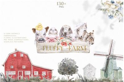 Fluffy Farm Baby Animals Watercolor Set